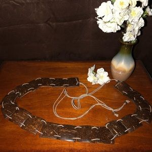 Accessories - Coconut Shell BELT Boho Festival Sash Tie Bead Vtg